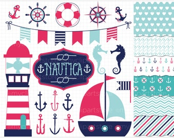 Clipart Combo - Nautica (Girl) / Nautical / Marine / Sailing Clip Art / Digital Clipart - Instant Download