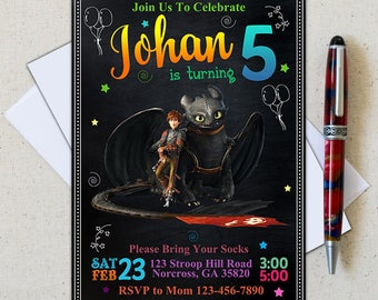 How to train your dragon invitation/Dragon Invitation/Dragon Birthday Party/How To Train Your Dragon Birthday Invitation
