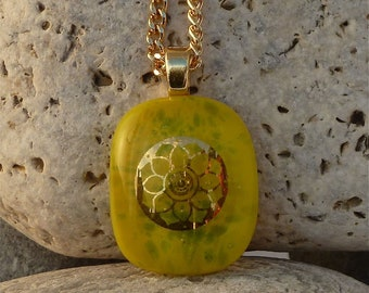 Yellow floral fused glass pendant