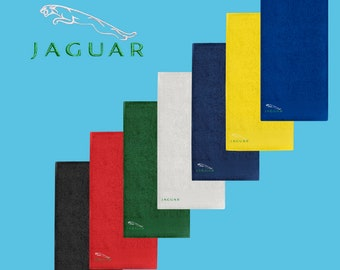 Jaguar Towel 50x100 cm COTTON EMBROIDERED Auto Car Logo Face Hand Body Bathroom Present Gift Summer Sport Black Blue Red Yellow Green