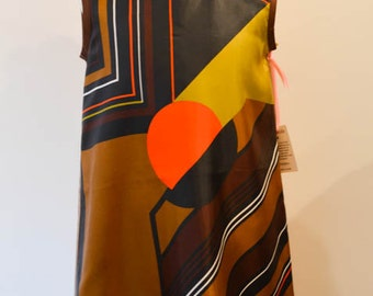 Mod, Bold print Children's Dress size 6 made from vintage scarf /  Vintage scarf dress