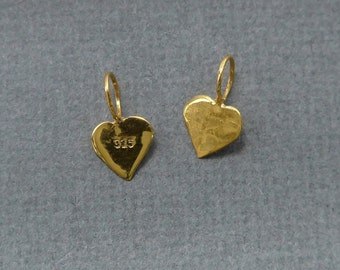 4,10,20 pcs, 24K Gold over Sterling Silver small tiny Heart Pendant Charm with ring - PC-0114
