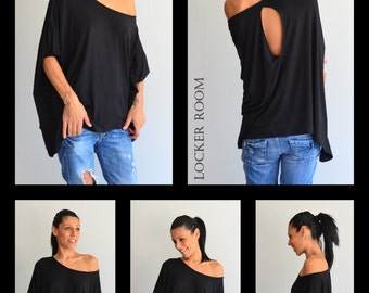 Tunic Shirt, Black Blouse, Cold Shoulder Top, Summer Top, Party top, Summer Blouse, Plus Size Tunic, Maternity Shirt