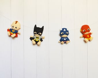 Superhero Garland  Marvel Superhero Felt Bunting Superhero Nursery Decor Avengers Garland Superhero Decor Boys Room Batman Superman Flash