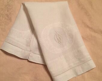 Vintage Monogrammed Linen Guest Towel