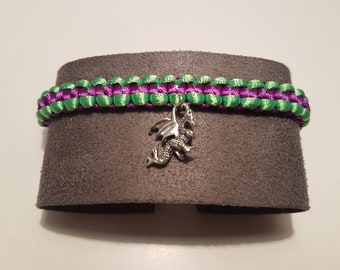 Disney's Maleficent inspired handmade Macrame bracelet with dragon charm
