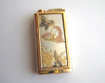 Nacon Perfume Atomizer for Purse - Etched Butterfly Design - Mixed Metal Tones - Japan