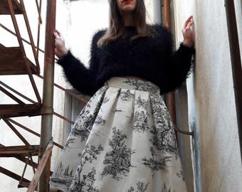 Toile de Jouy Skirt, Black and White Toile High Waisted Skirt, Black and White Pleated Skirt, Toile Printed Skirt, Made to Order