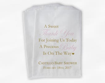 Sweet Thank You Baby Shower Candy Buffet Treat Bags - Set of 25 Baby Pink and Gold Personalized Favor Bags (0108)