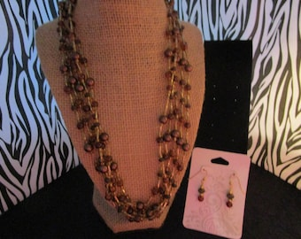 Brown Pearl & Glass Beaded Necklace Set