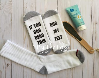 If You Can Read This, Rub My Feet, Personalized Men Funny Socks