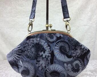 Ammonite Fossil Fabric purse bag frame handbag fabric clutch shoulder bag frame purse kiss clasp bag Handmade