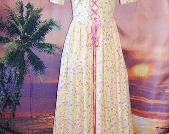 70s Peasant dress, Lace up dress, yellow floral dress, Sunny maxi dress, size XS