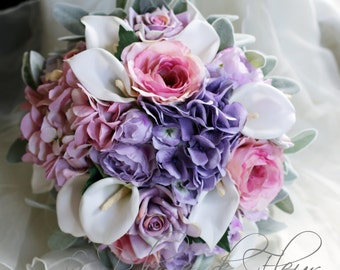 Harmony - Country cottage style wedding bouquet in pink, mauve and white.  Hydrangea, garden roses, calla lilies and dusty miller.