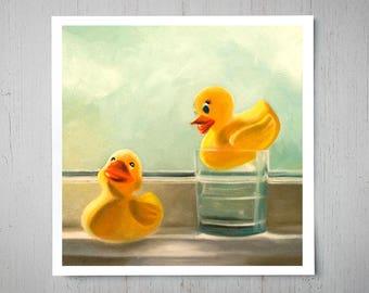 Rubber Duckies - Fine Art Oil Painting Archival Giclee Nursery Print Decor by Artist Lauren Pretorius
