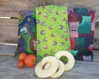 Beeswax Snack Bag, Snack Bag, Reusable Snack Bag, Beeswax Snack Pouch