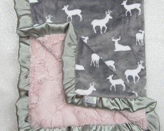 Minky Blanket, boho baby Blanket, cow skull, baby girl, modern blanket, hipster baby, pink and grey, deer blanket, ruffle blanket, bullseye