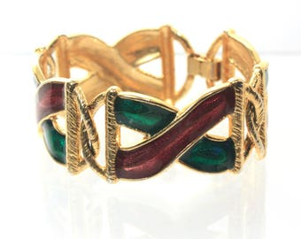 Large X and O Bracelet, Burgundy Green, Modernist, Chunky Bracelet, Statement, Glossy, Stylized, Dark Red Green, Bold