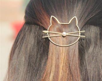 Choose gold or silver cat hair clip. Silver cat pearl hair clip. Gold cat hair pin. Cat lover gift idea. Kitten bobby pin.