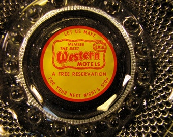 Vintage Motel ashtray Best Western bubble glass Advertising Mad Men inspired