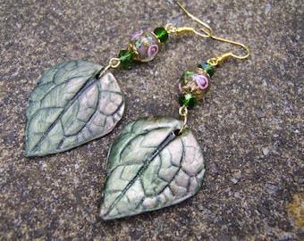 Leaf Earrings. Polymer Clay Earrings. Green Leaf Earrings. Lampwork Glass And Crystal Earrings. Green Earrings. Gift For Nature Lover.