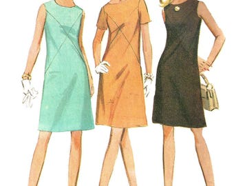 1960s Dress Pattern McCall's Vintage Sewing A Line Yoked Front Uncut Women's Misses Size 12 Bust 34 Inches