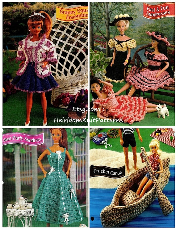 4 Barbie Crochet Patterns PDF 10 Pieces Fashion Doll Crochet Dresses ...