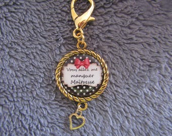 Clearance Keychain gold plated will miss you teacher