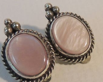 Petite Pink Mother of Pearl and Sterling Silver Clip Earrings Artist Signed