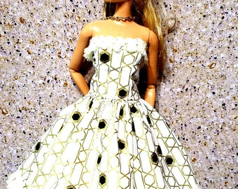Barbie Doll Clothing, Barbie Dress, Doll Clothes, Gathered Full Skirt, black, gold, white, Strapless dress, tassel fringe, dress