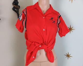 Vintage 1950s Hilton red black  monogrammed bowling shirt medium 158
