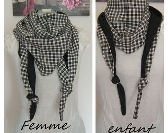 Scarf scarf Triangle scarf, gingham, plaid black and white mother and daughter / son, wife and child mixed, Mommy and me, gift idea