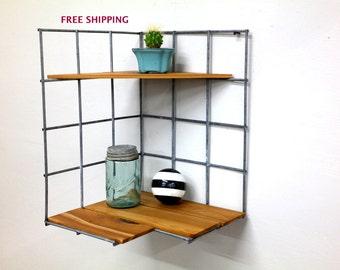 Corner Shelf//Shelving//Shelves//Wire//Wood//Industrial//Geometric//Modern//Wire shelving//Geometric shelving//Industrial shelving