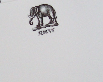 Elephant Personalized Notepad Monogrammed Note Pad Name or 3 Initials African Elephant Pachyderm Mammal Note Pad 75 sheets Vintage Inspired