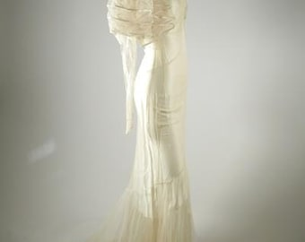 1930s Silk Wedding Gown with Train