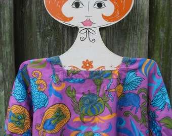 Zodiac Smock Design House Kitchen Full Apron Mod Astrology Signs Vintage Psychedelic Fabric Tunic