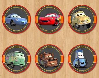 Disney Cars Cupcake Toppers - Chalkboard Orange + Red - Lightning Mcqueen Cars Birthday Party - Disney Cars Party Favors - Cars Sticker