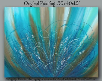 Textured abstract painting, Canvas, Floral, Turquoise teal blue brown, Large wall art, Botanical, Master bedroom decor, Office