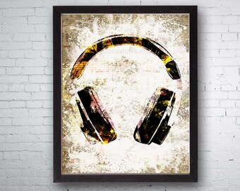 Headphones, Headphone Art, Headphone Print, Speakers, Sound System, Audio Art, Audio, Hip Hop Art, Hip Hop Music, Dancers, Dancing, Sounds