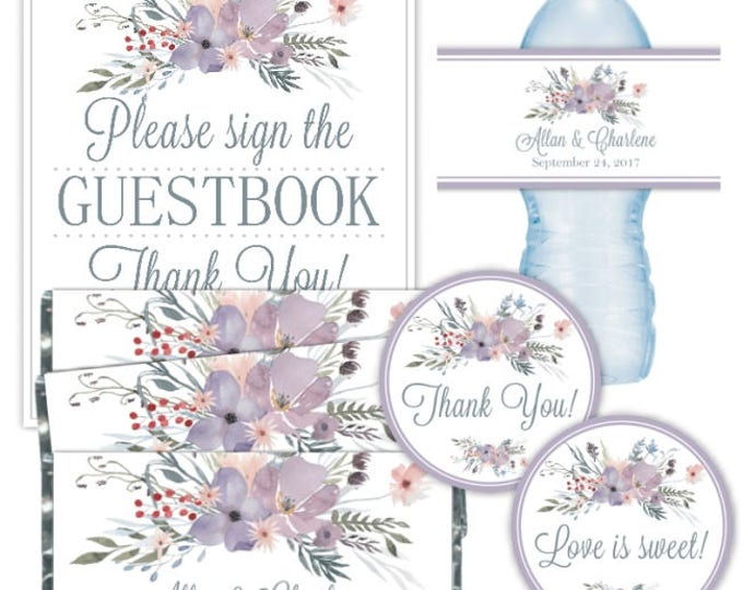 CUSTOM Printable PARTY PACK: Printable Tags, Candy Wrappers, Water Bottle Labels, 8x10 Guestbook Sign, Purple Watercolor Floral