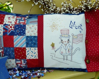 Liberty patchwork cat embroidery Pattern PDF -  Kitty Flag Stars pillow uncle sam