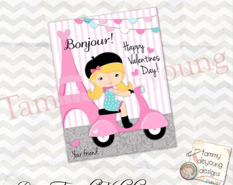 Pink Paris Valentine Cards, Valentines for girls,  Kid Valentine Day Cards, French Printable school valentines, DIY cards