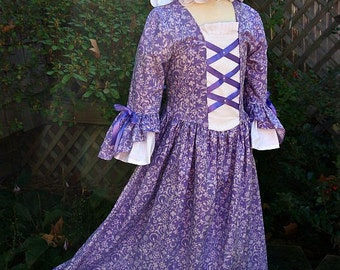Girls Colonial Dress  with double flounce at sleeve,Plus Mob  Cap /(PLEASE read full details in ad)