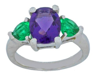 4 Ct Amethyst Oval & Emerald Heart Ring .925 Sterling Silver Rhodium Finish