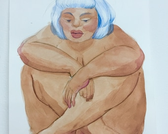 Original Watercolor Drawing - Girl - by Carly Garza