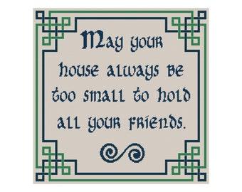 Cross Stitch Pattern, May Your House Irish Blessing, Celtic Cross Stitch, Cowbell Cross Stitch, Instant Download PDF, Counted Cross Stitch