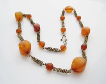 Genuine Baltic Amber Bead Necklace, Cognac Honey Amber Choker from Latvia