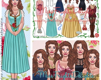 OUAT Belle Inspired Paper Doll  - Instant Download - Printable - Once Upon a Time Rumbelle Skin Deep