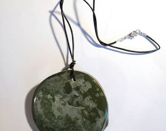 Green Fantasy Wood Necklace