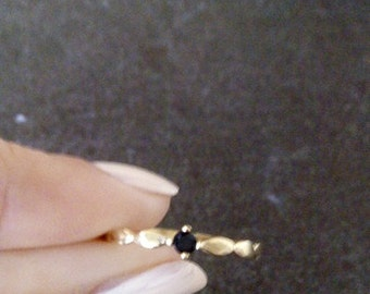 SALE! Tiny Onyx ring - Thin Ring - Gold Ring - Gemstone Ring - Black Jewelry - Onyx Ring - Slim Band - Simple Ring